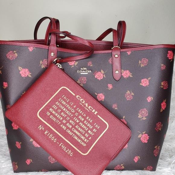 Coach Handbags - Reversible Coach Tote w/ Peony Print